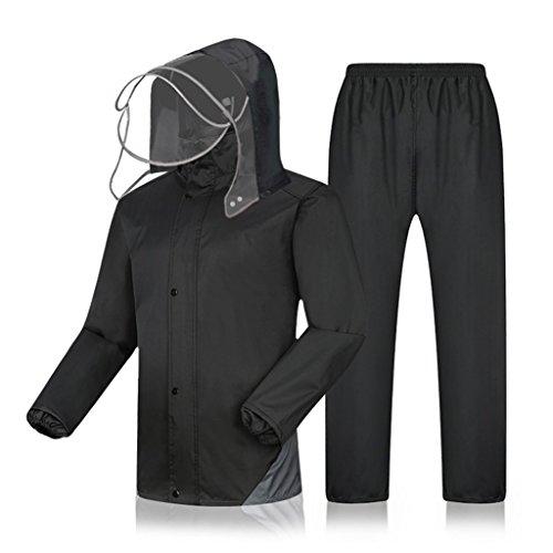 BJYG Regenanzug für Herren Regenbekleidung (Regenjacke und Regenhose Set) Erwachsene Kapuzen Outdoor Arbeit Motorrad Golf Angeln (Größe: XXXXL)