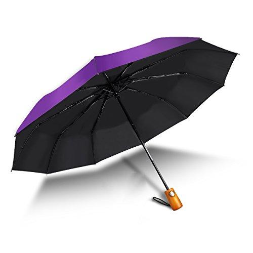Winddicht Regenschirm 10 Rippen 60Mph Windschutz/Outdoor Regenschirm mit einhändiger Automatik UV-Schutz Schnell Trocknenden Faltbar mit Solide Natürlichen Holz Rutschfesten Griff für Reise-Lila