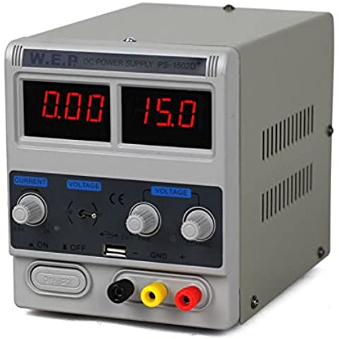 DC 1A 15V Fuente de Alimentación Regulable Digital con Digital precisión ajustable Dual LED Pantalla