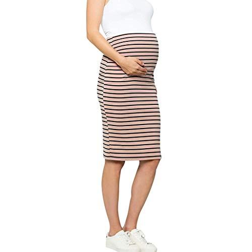 Bfmyxgs🍓Umstandskleid Damen Schwangere Frauen Hohe Taille Korsett Gestreiftes Kleid