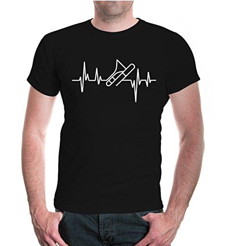 buXsbaum Herren Unisex Kurzarm T-Shirt Bedruckt Musikfrequenz Posaune | Blasmusik Instrument Trombone | L Black-White Schwarz