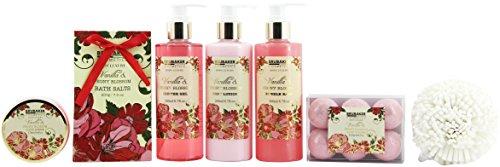 BRUBAKER Cosmetics 'Vanilla & Poeny Blossom' 14-Pieces Bath Gift Set in Decorative Basket