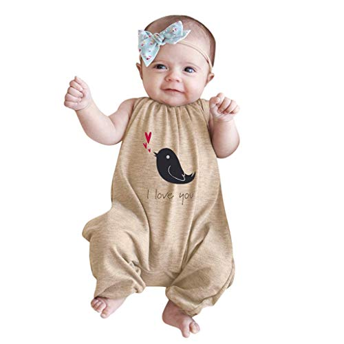 Allegorly Baby Strampler Unisex Jungen Mädchen Schlafanzug Baumwolle Overalls Pyjamas Ärmellos Vogeldruck Säugling Spielanzug Baby-Nachtwäsche Jumpsuit Outfit 3-24 Monate