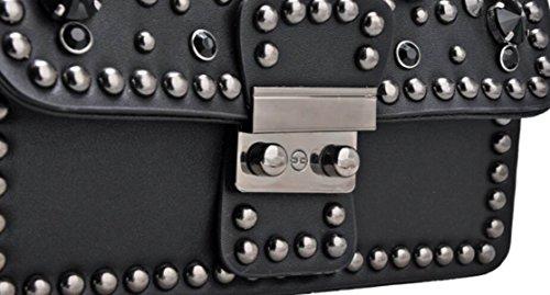 FZHLY Mini Bag Piazza Nuova Versione Catena Selvaggia Coreana Rivetti Tracolla Messenger,Beige Red