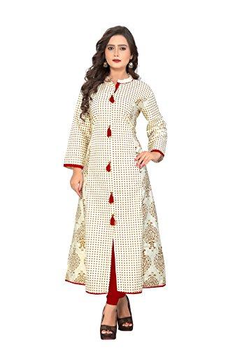 Navabi Export Women's Cotton Rayon Fabric A-Line Kurti (White, 11134, XL Size)