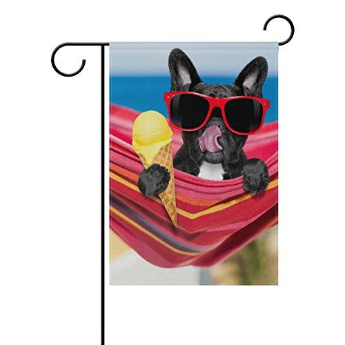 Vantaso Garten Flagge Dekorative Französische Bulldogge auf Ocean Beach Essen Eis Polyester Doppelseitig Druck verblassen Beweis für Outdoor Innenhöfe Garten 30,5x 45,7cm 12x18(in) Multi -