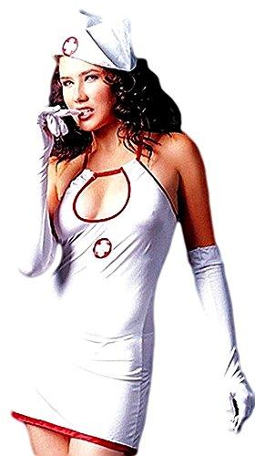 4-teiliges Krankenschwester Outfit inklusive Handschuhen und Haube von bunny-shop (Fantastischen Vier Kostüme Für Erwachsene)