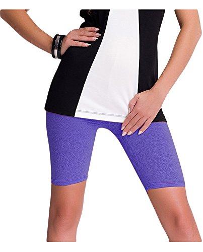 Lila Damen-shorts (Damen kurze Leggings / Shorts / Radlerhose aus Baumwolle (XXL, Lila))