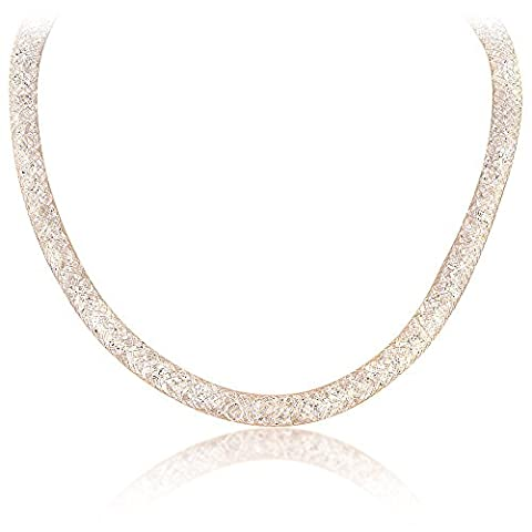 Mytysun Mesh Crystal Choker Necklace Chain Bracelet 18k Rose Gold