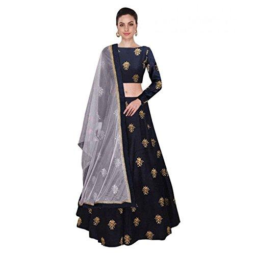 Arvicreation Creation Women\'s Silk Lehenga Choli (Blue,Free Size, Semi-Stitched)