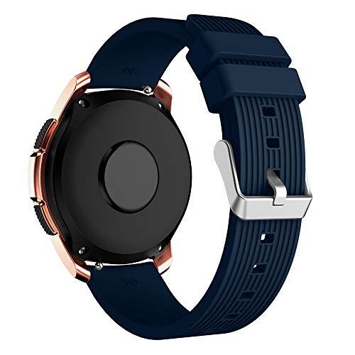 YBWZH Weiche Silikon-Uhrenarmband-Ersatzarmband für Samsung Galaxy Watch 42mm(Midnight Blau)