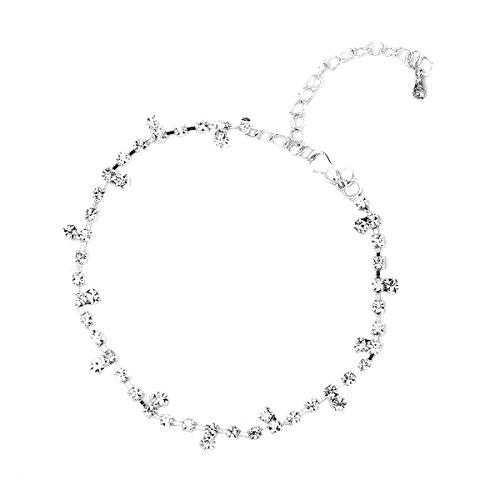 VORCOOL Damen Fußkettchen Strass Metall Fußkette – Einstellbare – Silber