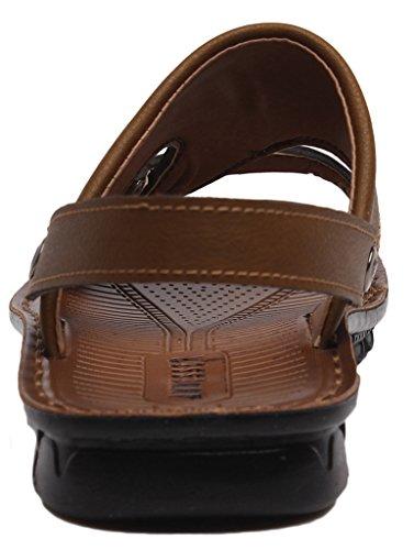 La Vogue 1 Paire Sandales Mules Mode Chaussures Homme Bout Ouvert Plage Loisir Été Similicuir Marron