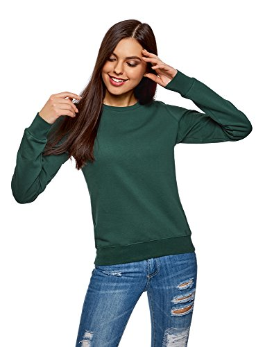 oodji Ultra Damen Baumwoll-Sweatshirt Basic, Grün, DE 42 / EU 44 / XL