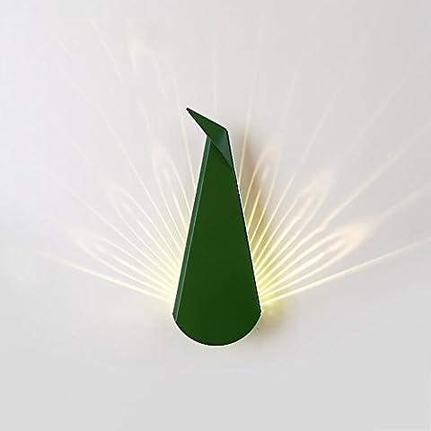 Haute qualité Creative Geometric Résumé Peacock LED Lampe murale en fer Nordic Simple Bedroom Hallside Hall Aisle Living Room Multicolore Art Shadow Wall Light 14CM * 36CM ( Couleur : Vert )