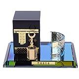 Modello di Kaaba musulmano in cristallo dorato Set di 3 pezzi Modello di Kaaba Replica Elemento di costruzione islamico Artigianato Souvenir Regali Home Table Car Decor