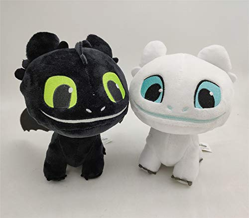 LodeStar 2 PCS / Set Light & Night Fury How to Train Your Dragon Toothless Doll Stuffed Animal Plush Toy for Children (16 cm) (Light & Night) Black Night Light