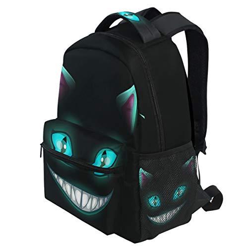 ry lächelndes Katzengesicht auf schwarzem Cheshire Halloween Rucksäcke Bookbags Daypack Travel School College Bag für Frauen Mädchen Männer Jungen ()