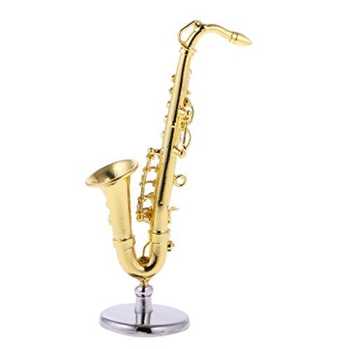 Sharplace Miniatur Goldene Saxophon Musikinstrumente für Puppenhaus Dekoration