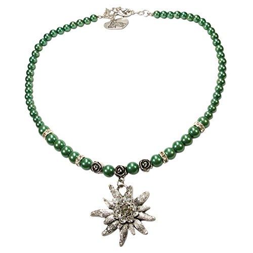 Trachten Schmuck Perlen (Alpenflüstern Perlen-Trachtenkette Fiona mit Strass-Edelweiß groß Damen-Trachtenschmuck grün)