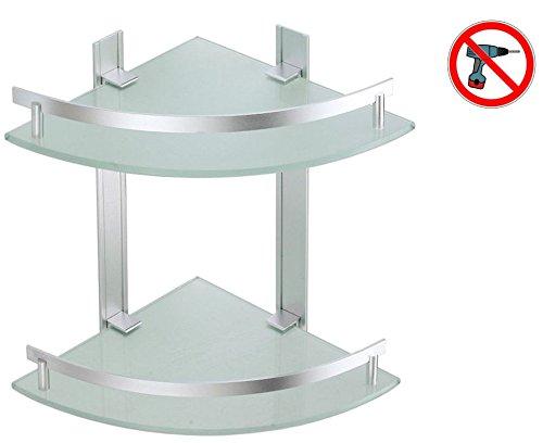 Msv tabarca–mensola angolare, 2ripiani, alluminio e vetro