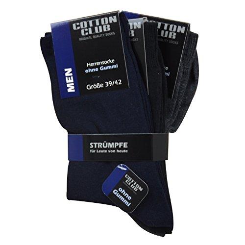 Cotton Club 6 Paar Herrensocke ohne Gummi bis Gr 51-54 Diabetiker geeignet, kein Gummizug (47-50, schwarz-blau-antrazit)