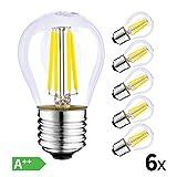 HISAYSY LED Filament Lampe E27, 4W LED Edison G45 Leuchtmittel 470 Lumen, ersetzt 40W Glühfadenlampe, 2700K Warmweiß Glühbirne, 6er Pack