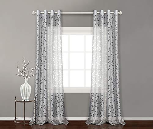 Pimpamtex - tenda trasparente con 8 ochielli, 140 x 260 cm, per soggiorno, camera da letto e camara. tende moderne modello burnout alborea - (2 pannelli - 140x260, grigio)