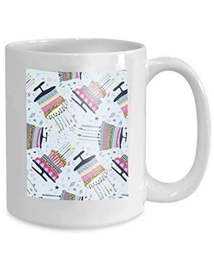 Becher Kaffee Tee Tasse nahtlose Muster Feuerwerk Konfetti Geburtstagstorte Kerzen Urlaub endlosen Hintergrund geometrische 110z