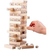 Smilee Wooden Stacking Board Games Timber Tower Classic Best Family Fun Educational Games for Kids ?Gifts Ideas Number Match (54 Pieces)