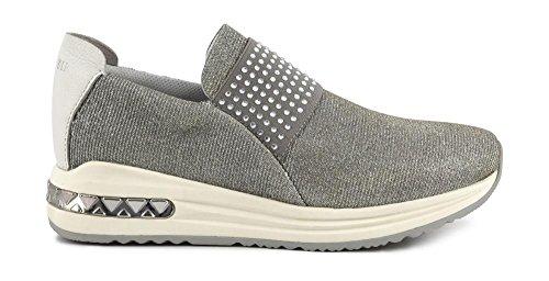 CAF NOIR DA945 silberne Schuhe Frau sheakers niedrigen Schlupf auf elastischen 204 ARGENTO