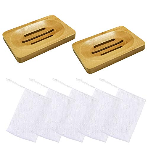 mreechan Jabonera,2 Piezas Jabonera de Madera Natural bambú Bandeja de jabón para Ducha de baño Fregadero para jabón,5 Piezas Bolsa de Jabón,Jabonera para Cocina Baño Esponja Jabon Depurador