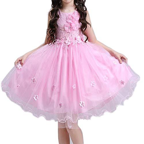 H_y Flauschige Prinzessin Kleid, weiche Stoff handgefertigte Blumen Bogen Perle Brautkleid Prom Kleidung ärmellose 3-10 Jahre Mädchen Kostüme,Pink,120 (Sonne Göttin Kostüme)