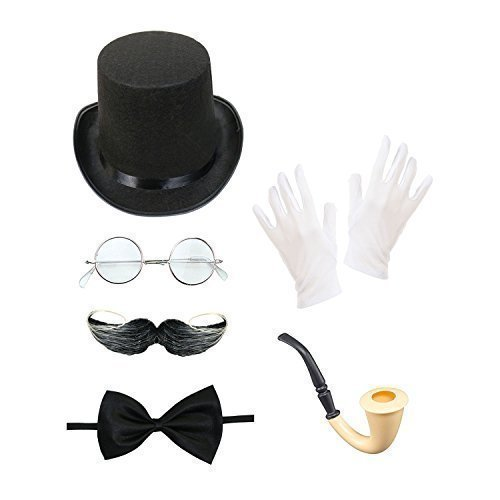 Men's Steampunk Costume Set (Top Hat, Glasses, Moustache, Bow Tie, Smoking Pipe & Gloves) steampunk buy now online