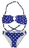 Aloha-Beachwear Damen Bandeau Neckholder Bikini Polka Dots gepunktet Anker A9009 (L / 40 / UK 14, Blau / Weiss)