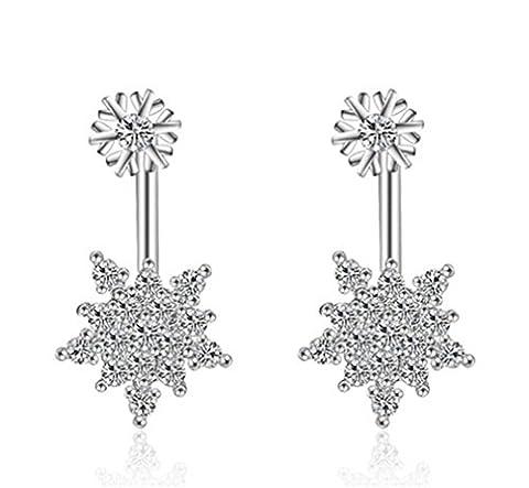 Women's Cute Long Hypoallergenic 925 Silver Snowflake Powder Puff