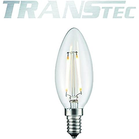 TRANSTEC® LED Filamento Candela Lampadina - Retro Vintage Stile Filamento - C35 6W E14 - Trasparente Bianco Caldo 2700K - LED Edison Lampadina Non Dimmerabile [Classe Energetica A ++]
