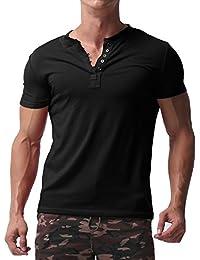 MODCHOK Hombre Camiseta Manga Corta T-Shirt Cuello V Básico Botones Color Sólido o9m9K1Rd