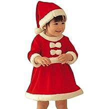 2-12 AñOs De Edad NiñO Bebé NiñA De Navidad Vestido De Traje, QinMM Bowknot Partido Falda + Sombrero Conjunto De Ropa