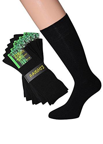 Herren Bambus Socken ohne Gummi schwarz Bambussocken schwarz Herren Gr. 43-46, 6 Paar -