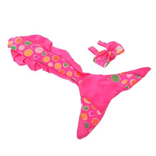 Homyl Süßer Puppe Meerjungfrau Schwanz Kleid mit Büstenhalter Badeanzug Set Für 1/6 Puppe Dress up