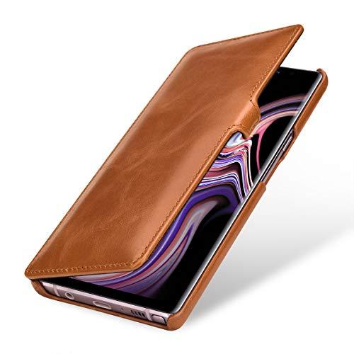 StilGut Book Type Lederhülle für Samsung Galaxy Note 9. Seitlich klappbares Flip-Case aus Echtleder, Cognac mit Clip