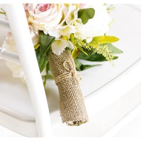Wady 10M hessischen Burlap Band Roll, rustikale Natur Hochzeit Tischläufer Stuhl Dekor Vintage-Shabby Chic, Jute Leinwand Tischläufer für Heim Bankett