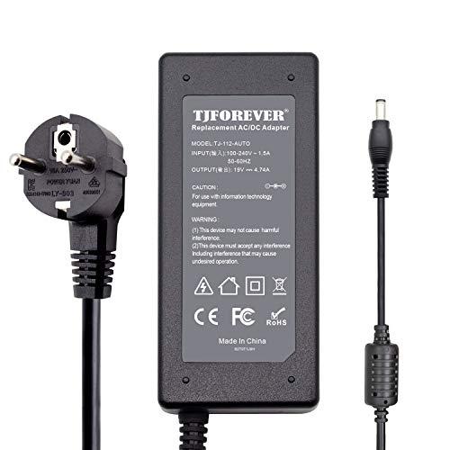 TJFOREVER Laptop Netzteil ladekabel Ladegerät für Asus 19V 4.74A 90W ADP-90CD DB X555l X550C A53 K53 N56 Transformer Book Flip N17908 v85 ADP-90YD B ADP-90SB Notebook AC Adapter Verbinder:5.5 * 2.5mm
