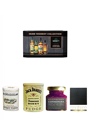 Cooley Collection neues Design Irish Whisky Mini 4 x 5cl + Edradour Malt Whisky Fudge in Blechdose 300g + Jack Daniels - HONEY - Fudge 300 Gramm + Connemara Irish Whisky Himbeer Marmelade 150g im Glas + Schiefer Glasuntersetzer eckig ca. 9,5 cm Durchmess