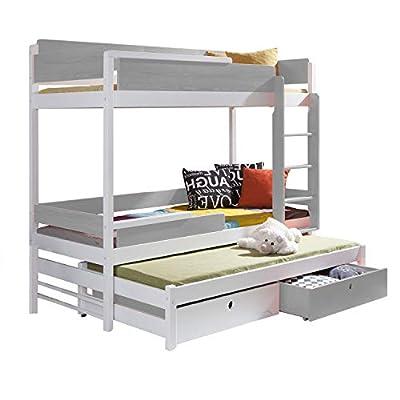 Triple Bunk Bed NATURE 3 Modern Trundle High Sleeper Mattress Drawers Ladder 3 Children Pine Wood