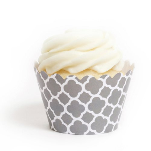 Dress My Cupcake Grey Spanish Tile Cupcake Wrappers, Set of 12 (Martha Stewart Stand Cupcake)