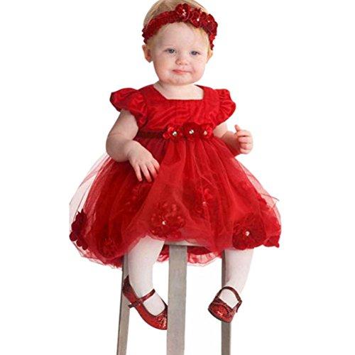 Mädchen kleid,Honestyi Blume Mädchen Baby Prinzessin Festzug Spitzenkleider Kleinkind Neugeborene Baby Kleid O-Ausschnitt Lange Ärmel Party Kleid + Bowknot Stirnband (Rot, 12M/80CM)
