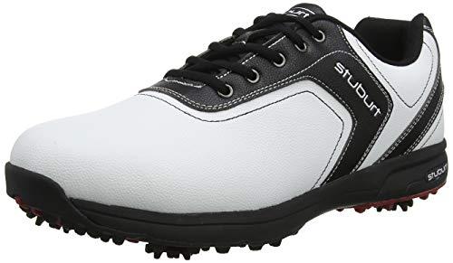 Stuburt SBSHU1108 - Scarpe da Golf da Uomo Comfort XP II Dri-Back, Impermeabili, con Borchie, Colore Bianco/Nero, Taglia 44