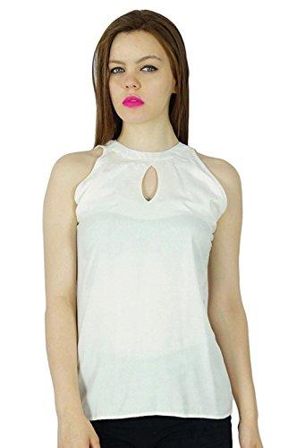 Bimba Frauen Rayon weiße kundenspezifische Short Top Key Hole Ärmel Kurzarm-Bluse (Kundenspezifische Sport-ärmeln)